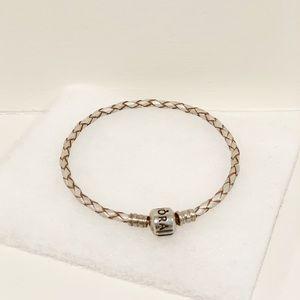 Pandora Champagne Single Braided Leather Bracelet